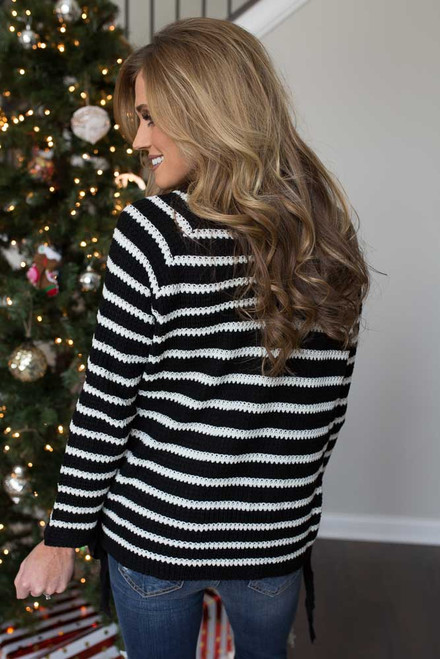 Striped Lace Up Side Pullover - Black/White - FINAL SALE