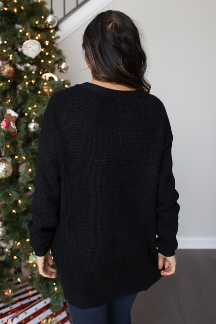 Lace Up Eyelet Sweater - Black - FINAL SALE