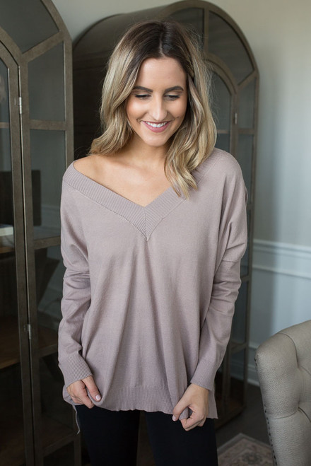 V-Neck Seam Detail Sweater - Mocha - FINAL SALE