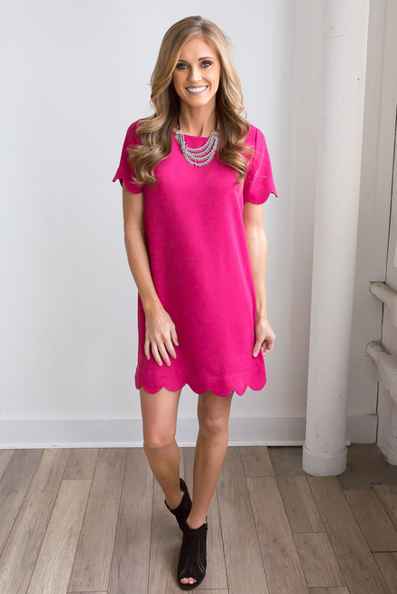It Girl Short Sleeve Scalloped Shift Dress - Raspberry - FINAL SALE