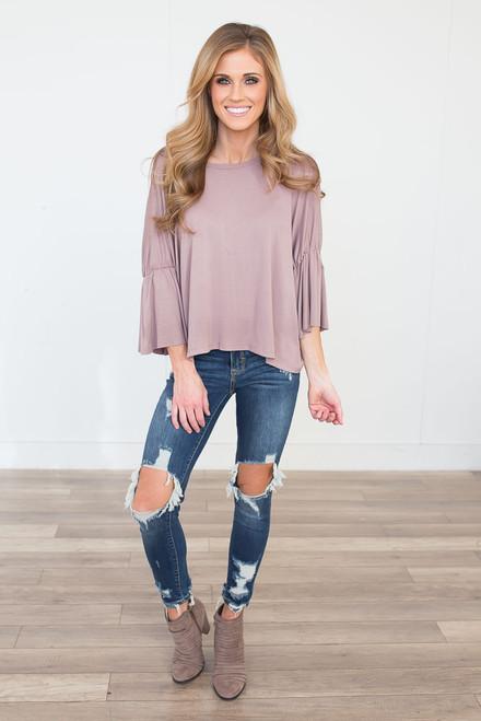 Solid Flounce Sleeve Knit Top - Mocha - FINAL SALE