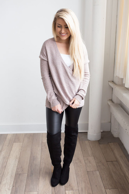 Two Tone Cross Wrap Sweater - Light Pink/Black - FINAL SALE