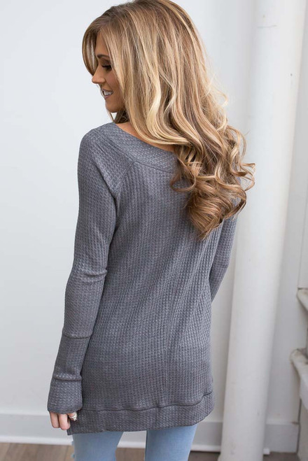 Boatneck Waffle Knit Top - Charcoal - FINAL SALE