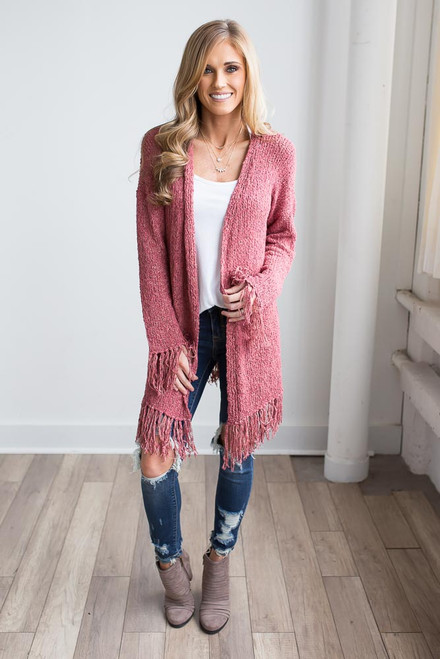 Frayed Two Tone Cardigan - Vintage Brick - FINAL SALE
