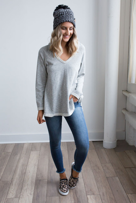 French Terry Hooded Pullover - Heather Grey - FINAL SALE