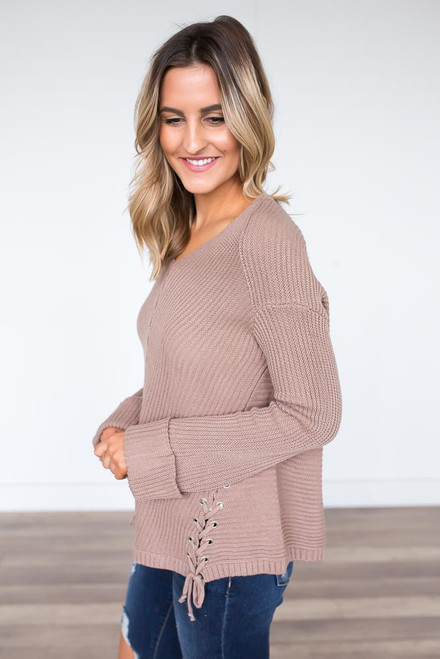 Ribbed Lace Up Sweater - Mocha - FINAL SALE