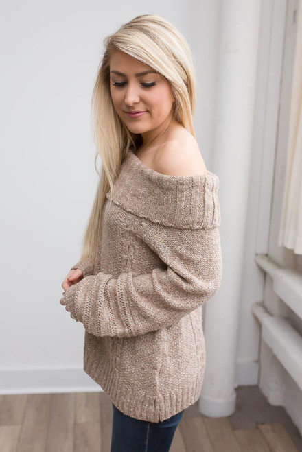 Off the Shoulder Cable Knit Sweater - Mocha - FINAL SALE