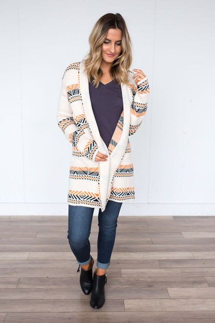 Printed Draped Front Cardigan - Cream Multi - FINAL SALE