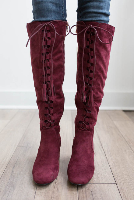 Faux Suede Lace Up Tassel Boots - Burgundy - FINAL SALE