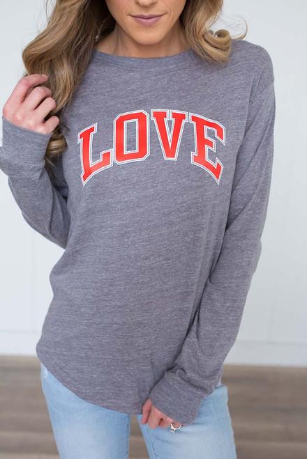 Love Long Sleeve Tee - Heather Grey/Red - FINAL SALE