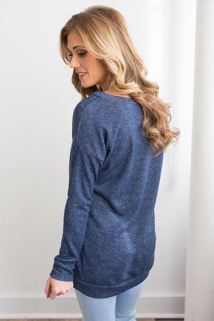 Criss Cross Detail Sweatshirt - Heather Navy