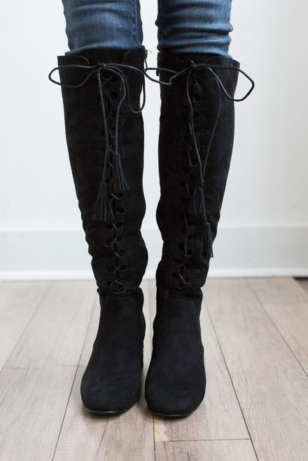 Faux Suede Lace Up Tassel Boots - Black - FINAL SALE