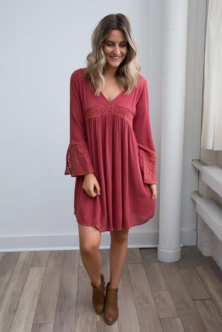 Crochet Detail Babydoll Dress - Paprika - FINAL SALE