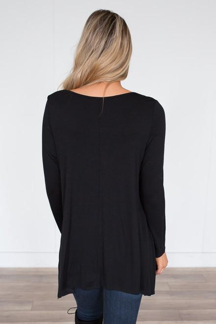 Strap Front Asymmetrical Top - Black - FINAL SALE