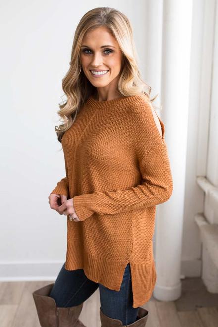 High Low Cold Shoulder Sweater - Russet Orange - FINAL SALE
