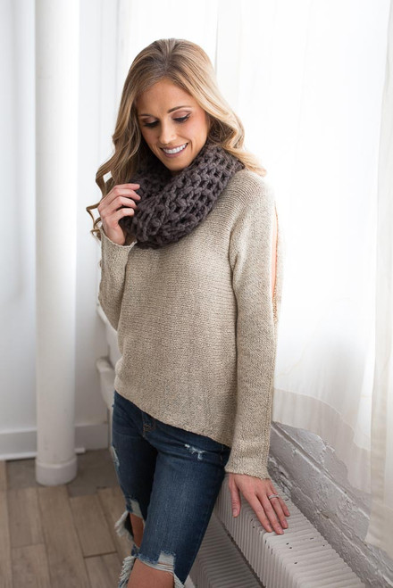 Two Tone Open Shoulder Sweater - Taupe - FINAL SALE