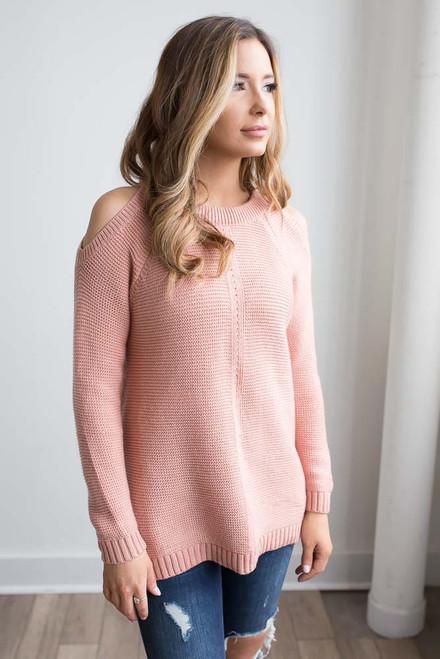 Cold Shoulder Flare Sweater - Rose - FINAL SALE