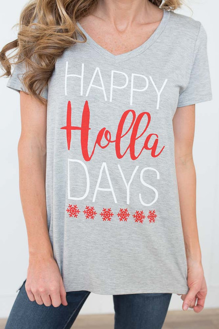 Happy Holla Days V-Neck Tee - Heather Grey - FINAL SALE