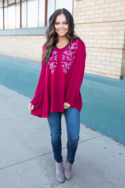Rose Embroidered Keyhole Flare Blouse - Burgundy - FINAL SALE