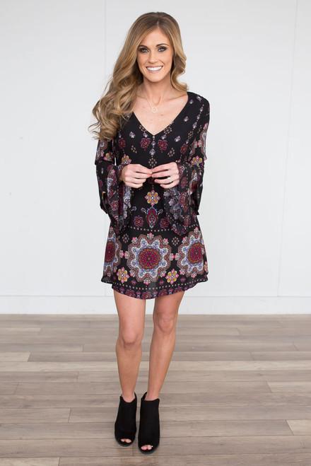 Paisley Open Back Dress - Black Multi - FINAL SALE