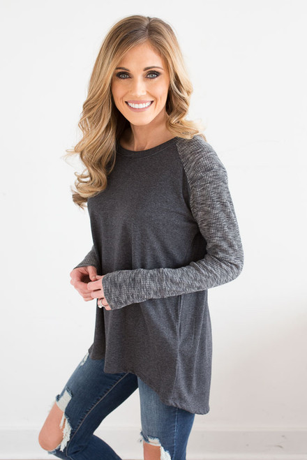 Contrast Ribbed Raglan Top - Charcoal