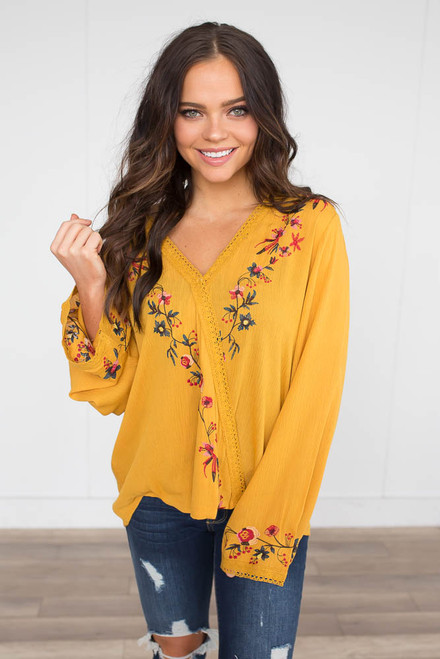 Floral Embroidered Surplice Blouse - Mustard - FINAL SALE