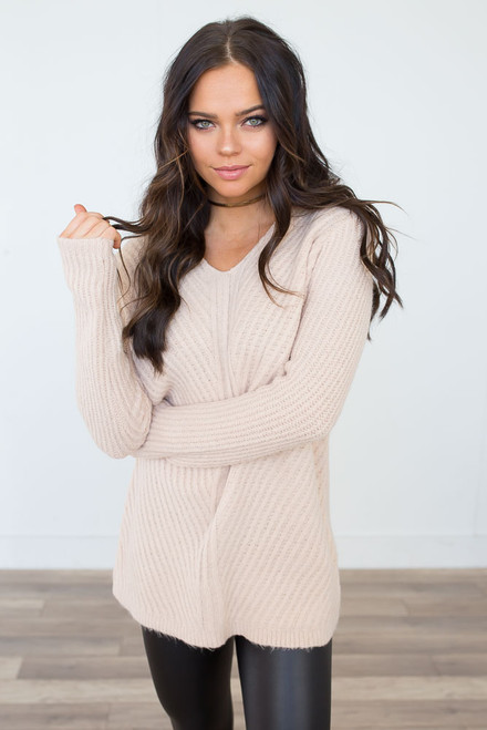 Snow Angel Ribbed Sweater - Champagne - FINAL SALE