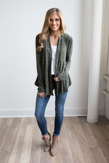 Marbled Peplum Cardigan - Forest Green