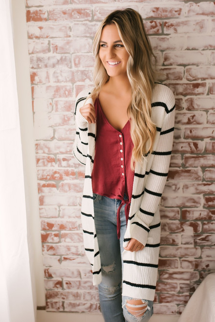 Ribbed Striped Cardigan - Ivory/Black - FINAL SALE