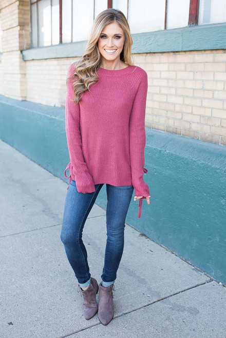 Lace Up Side Pullover Sweater - Vintage Poppy - FINAL SALE