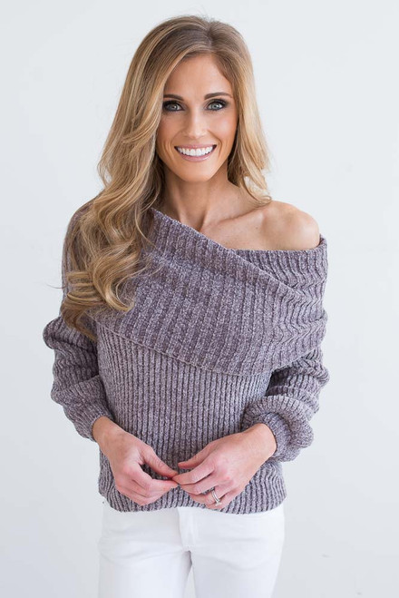 Off the Shoulder Chenille Sweater - Vintage Grey