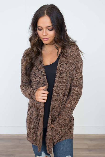 Two Tone Pocket Cardigan - Chocolate