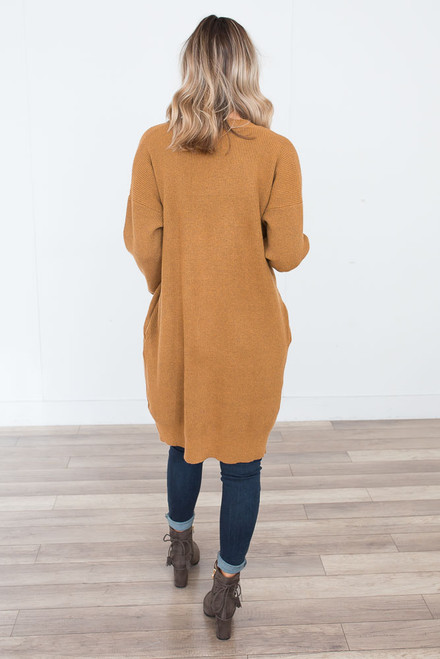 Ribbed Flecked Long Cardigan - Mustard - FINAL SALE