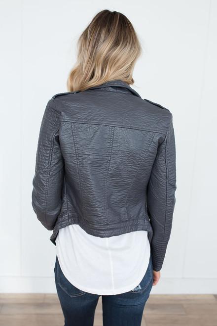 Jack by BB Dakota Amanda Vegan Leather Jacket - Iron