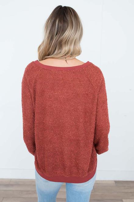 Boucle Raglan Pullover - Brick - FINAL SALE