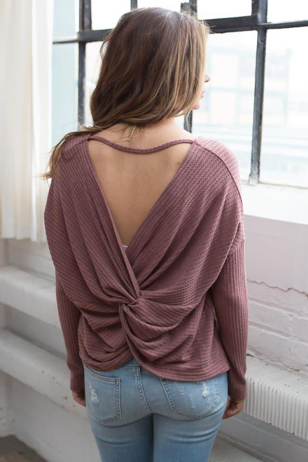 Waffle Knit Knot Back Top - Faded Rose