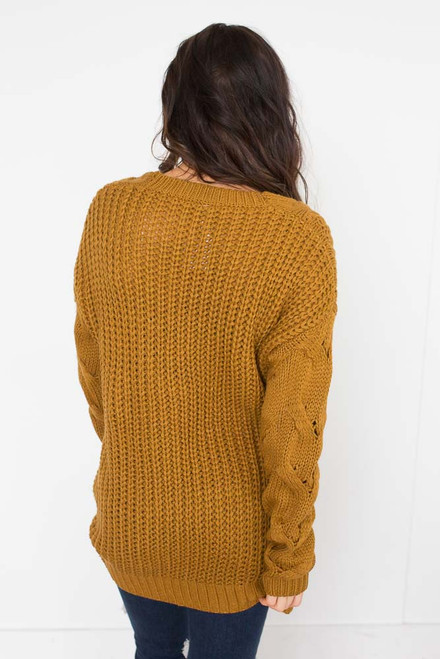 Deep V Cable Detail Sweater - Irish Gold - FINAL SALE