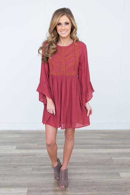 Crochet Detail Ruffle Sleeve Dress - Burnt Sienna - FINAL SALE