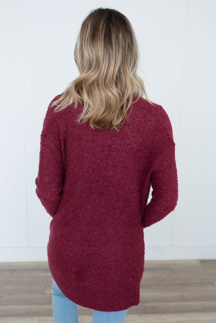 Boucle Pocket Cardigan - Burgundy - FINAL SALE