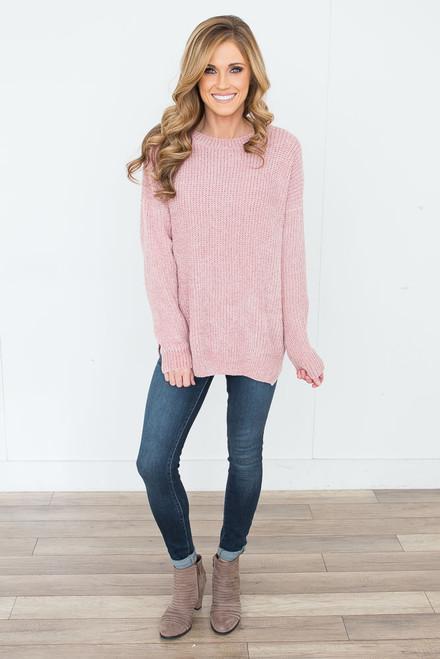 Chenille Keyhole Back Sweater - Dusty Blush - FINAL SALE