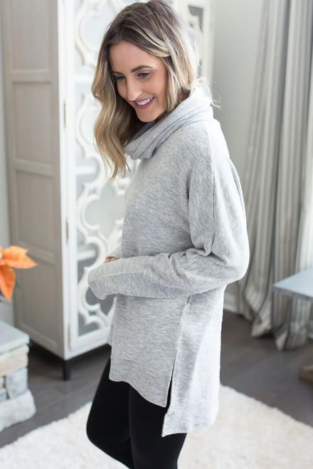 Soft Brushed Cowl Neck Sweatshirt - Heather Grey