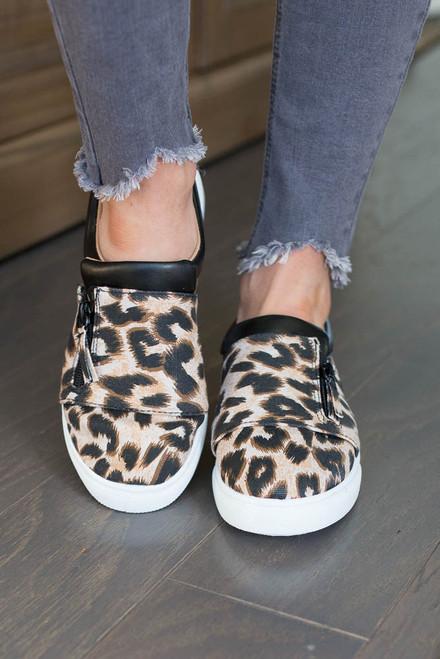 Leopard Slip On Zipper Sneakers - Camel Multi
