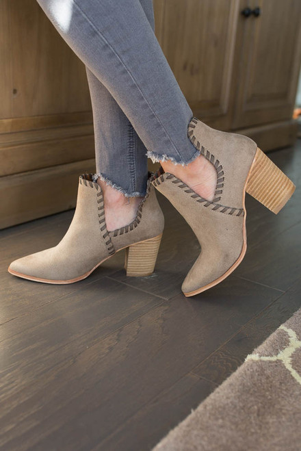 Uptown Side Cutout Booties - Taupe
