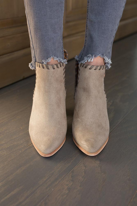 Uptown Side Cutout Booties - Taupe - FINAL SALE