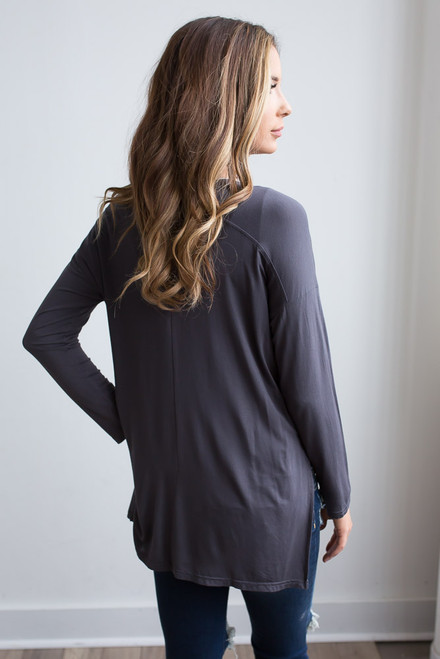 Long Sleeve Side Slit Knit Top - Charcoal - FINAL SALE