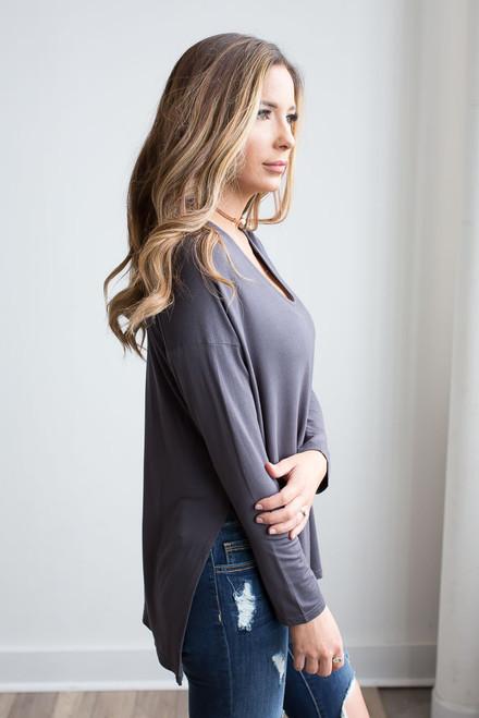 Long Sleeve Side Slit Knit Top - Charcoal