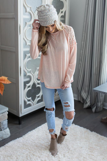 Crochet Shoulder Raglan Top - Tropical Peach