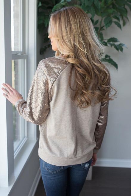 Sequin Sleeve Raglan Pullover - Taupe - FINAL SALE