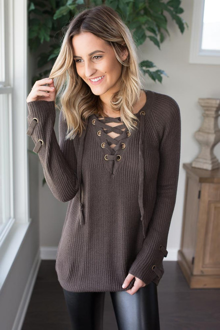 Lace Up Sweater - Stone Grey - FINAL SALE