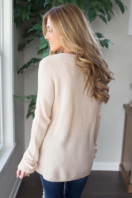 Lace Up Sweater - Vanilla - FINAL SALE
